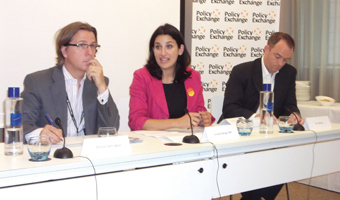 (L-r): Damian Carrington of the Guardian, Luciana Berger MP and Guy Newey of Policy Exchange discuss the Green Deal.